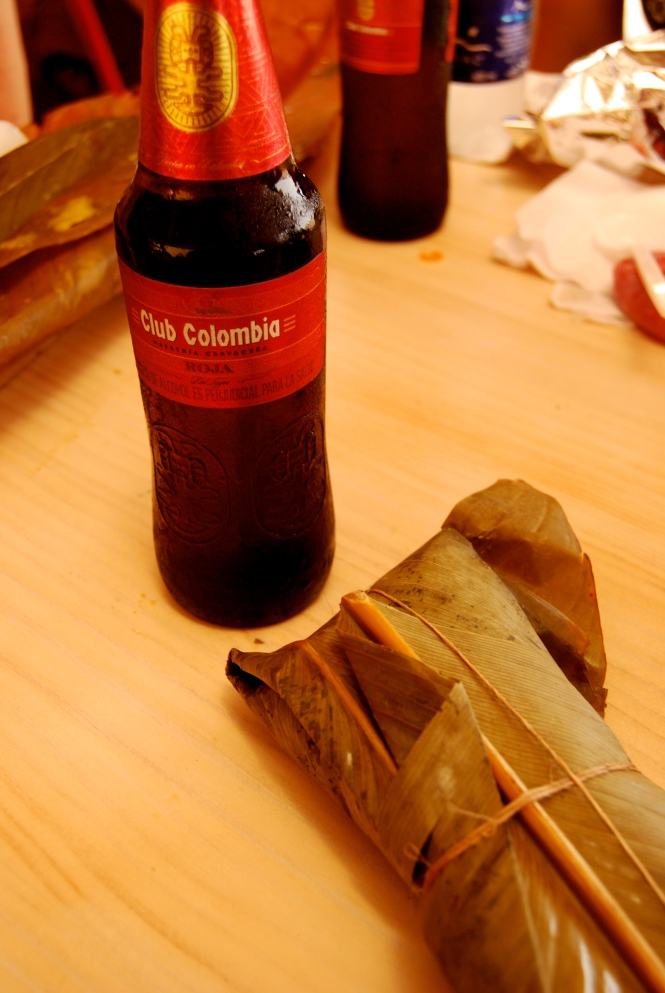 My favorite Colombian beer and a tamal.