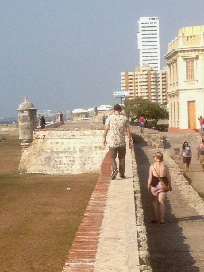 My brother, Gregory, and I walking the wall in Cartagena.