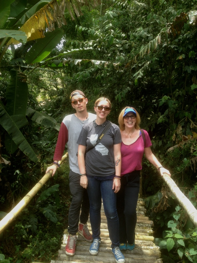 Mom, Gregory, and I on the coffee tour of Hacienda Guayabal in Chinchiná.