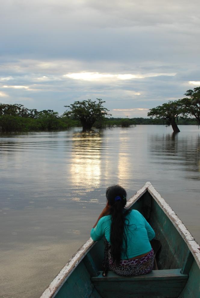 Canoeing down the Cuyabeno River in the Ecuadorean Amazon.