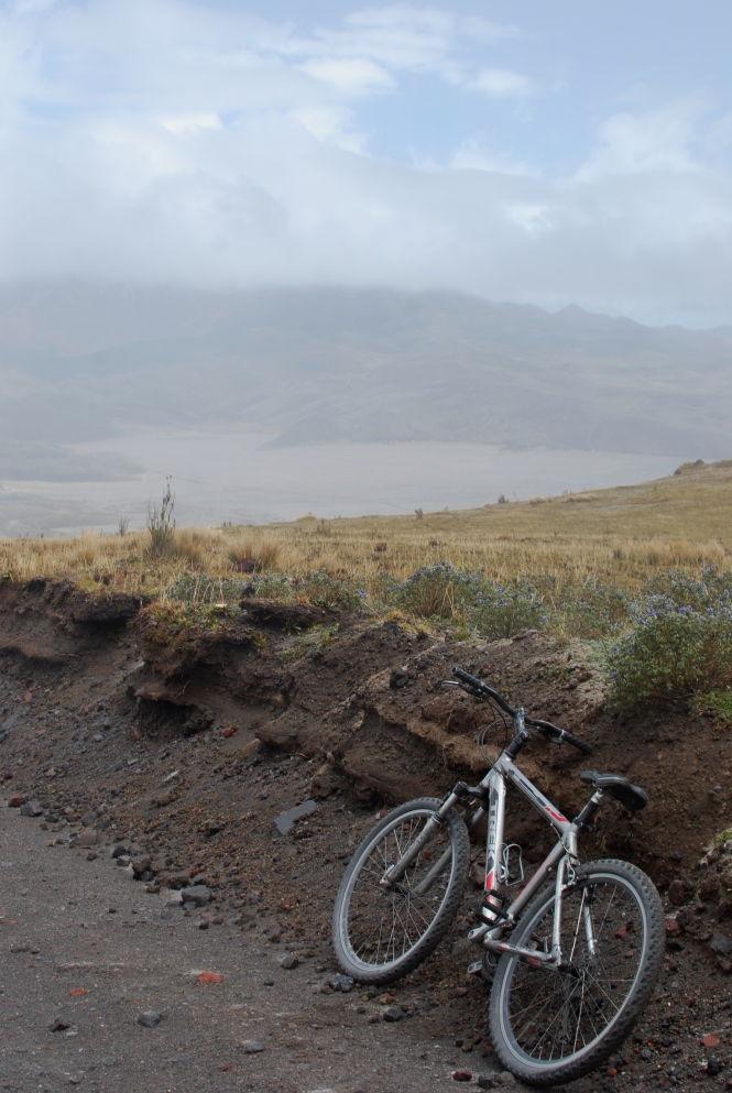 Biking down the Cotopaxi volcano.
